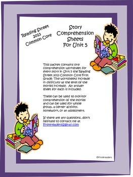 Reading Street First Grade Unit 5 Comprehension Sheets (Large Print)