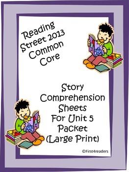 Reading Street First Grade Unit 5 Comprehension Sheets (La