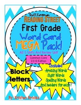 Reading Street First Grade Word Card MEGA pack! (Bright Colors) (Block Font)
