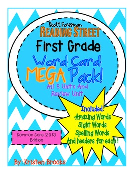 Reading Street First Grade Word Card MEGA pack! (Bright Colors)(fun font)