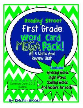 Reading Street First Grade Word Card MEGA pack! (Bright Green and Navy)