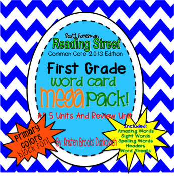 Reading Street First Grade Word Card MEGA pack! (Primary Colors)(block font)