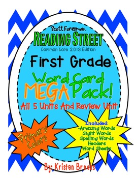Reading Street First Grade Word Card MEGA pack! (Primary Colors and Fun Fonts)