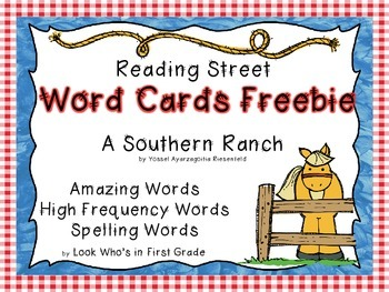 """Reading Street First Grade Word Cards FREEBIE  """"A Southern Ranch"""""""
