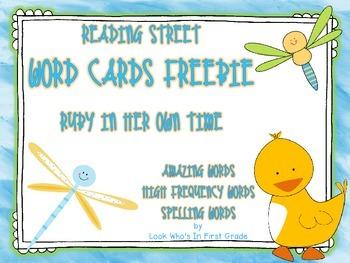 "Reading Street First Grade Word Cards FREEBIE  ""Ruby In He"