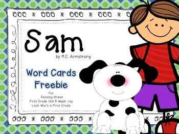 "Reading Street First Grade Word Cards FREEBIE ""Sam"""