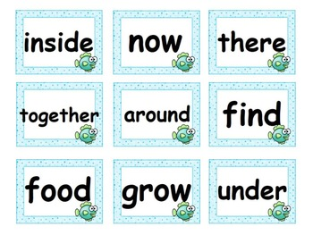 Reading Street Fish/Blue Polka Dot High Frequency Words 1.R-5 w/ Alphabet Cards