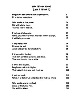 Reading Street Fluency Passages: 1st grade Unit 2