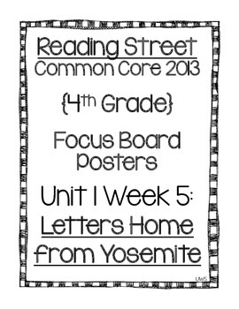 Reading Street Focus Board Posters: 4th Grade Unit 1 Week 5 {INK SAVERS}