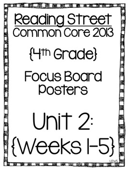Reading Street Focus Board Posters: 4th Grade Unit 2 Weeks 1-5: {InkSaver}