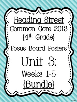 Reading Street Focus Board Posters: 4th Grade Unit 3 Weeks 1-5: {Blue}