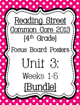 Reading Street Focus Board Posters: 4th Grade Unit 3 Weeks 1-5: {Pink}