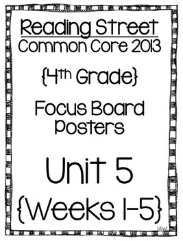 Reading Street Focus Board Posters: 4th Grade Unit 5 Weeks 1-5: {InkSaver}
