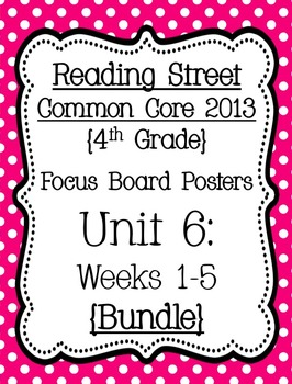 Reading Street Focus Board Posters: 4th Grade Unit 6 Weeks 1-5: {Pink}