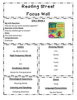 Reading Street Focus Sheet for Unit 1 Week 1