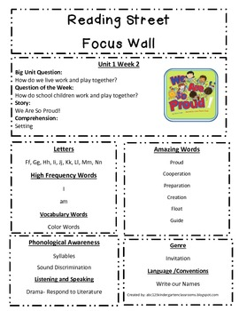 Reading Street Focus Sheet for Unit 1 Week 2
