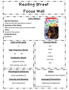 Reading Street Focus Sheet for Unit 2 Week 5 - A Bed for Winter