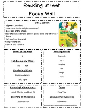 Reading Street Focus Sheet for Unit 2 Week 6 - Jack in the Bean Stalk