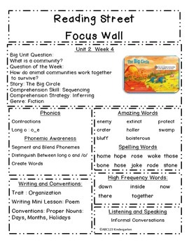 Reading Street Focus Sheets First Grade  Readiness to   Unit 5  BUNDLE