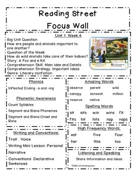 Reading Street Focus Sheets First Grade  Unit  1 Weeks 1-6