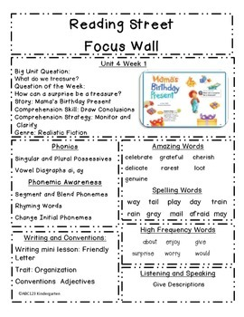 Reading Street Focus Sheets First Grade  Unit  4 Weeks 1-6