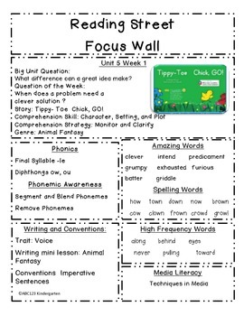 Reading Street Focus Sheets First Grade  Unit 5 Weeks 1-6