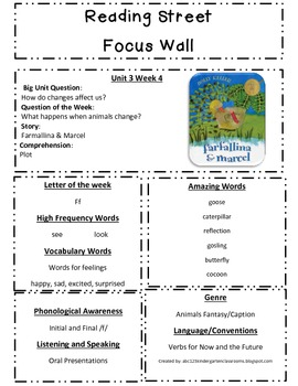 Reading Street Focus Sheets  for Unit 3  Weeks 1-6- Scott Foresman