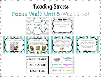 Reading Street Focus Wall- Fourth Grade- Unit 5