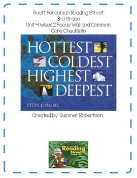 Reading Street Focus Wall U4W2 Hottest, Coldest, Highest, Deepest
