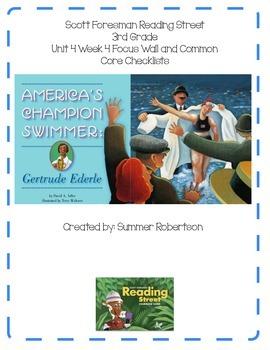 Reading Street Focus Wall U4W4 America's Champion Swimmer: Gertrude Ederle