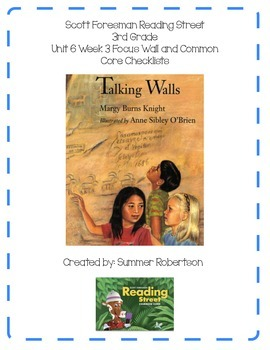 Reading Street Focus Wall U6W3 Talking Walls: Art for the People