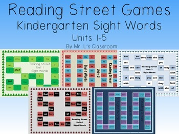 Reading Street Games Supplemental Resource - Kindergarten Sight Words Units 1-5
