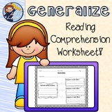 Generalizing Reading Comprehension Worksheet