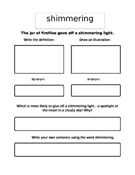 Reading Street Gr 4 - Unit 3 - How Night Came From The Sea - Vocab Packet