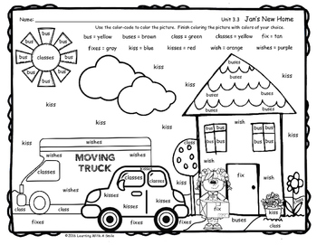 Reading Street Grade 1 FREE Jan's New Home COLOR BY WORD