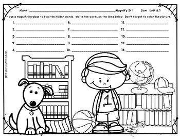 Reading Street Grade 1 FREEBIE Magnify It! ~ Find the Hidden Words! Unit R.1