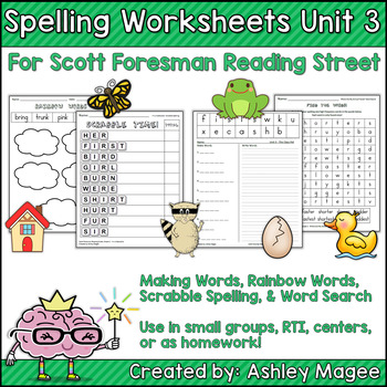 reading street grade 1 supplemental spelling worksheets unit 3 by mrs magee. Black Bedroom Furniture Sets. Home Design Ideas