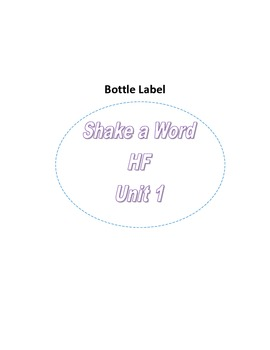 Reading Street- Grade 1- Unit 1- Shake a Word