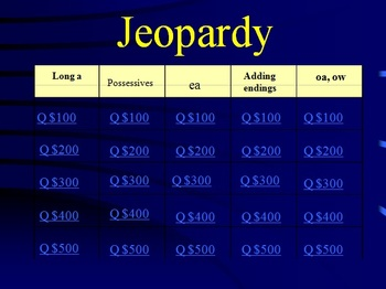 Reading Street Grade 1 Unit 4 Phonics Review Jeopardy (part 1)
