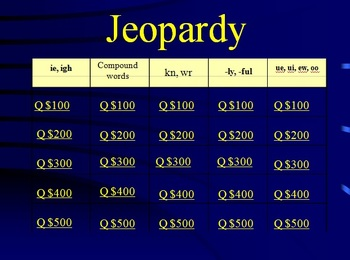 Reading Street Grade 1 Unit 4 Phonics Review Jeopardy (part 2)