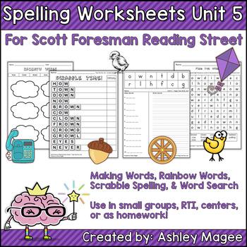 Reading Street Grade 1 Unit 5 Supplemental Spelling Worksheets By
