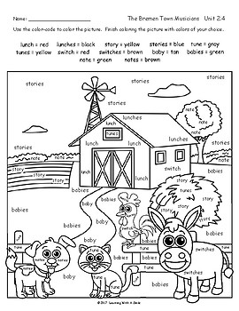 Reading Street Grade 2 FREE Color by Word THE BREMEN TOWN MUSICIANS