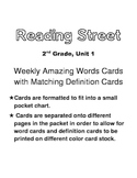Reading Street, Grade 2, Unit 1 Weekly Amazing Words Word and Definition Cards