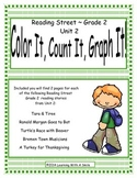 Reading Street Grade 2 (Unit 2) No Prep Literacy Center ~ Color, Count, Graph It