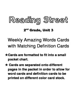 Reading Street, Grade 2, Unit 3 Amazing Words Cards w/ Definition Cards