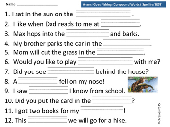 Reading Street Grade 2 Unit 3 Anansi Goes Fishing Differentiated Spelling