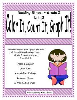 Reading Street Grade 2 (Unit 3) No Prep Literacy Center ~ Color, Count, Graph It