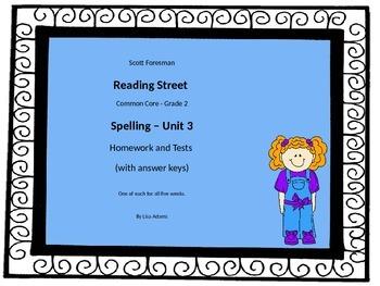 Reading Street Grade 2 Unit 3 Spelling Homework and Test w