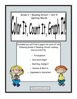 Reading Street Grade 2 (Unit 5) No Prep Literacy ~ Color It, Count It, Graph It!
