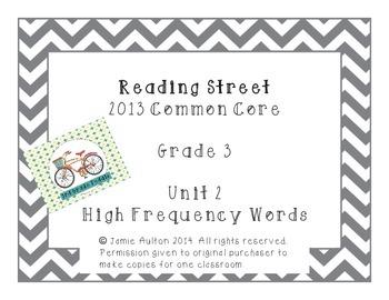 Reading Street Grade 3 Unit 2 High Frequency Words Chevron